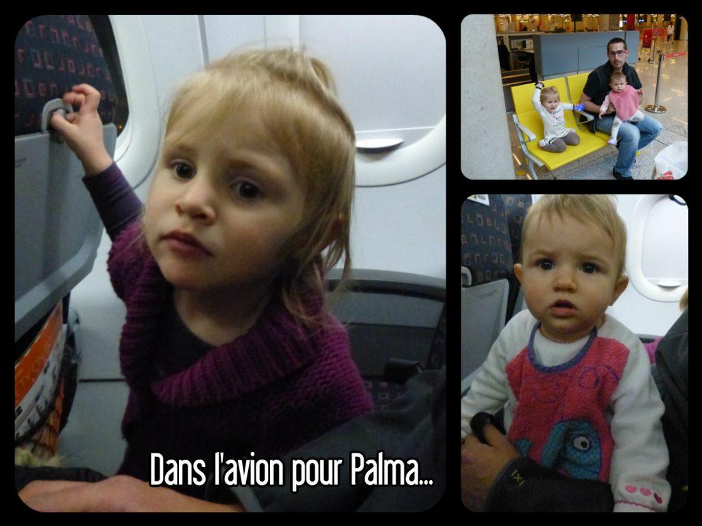 Dans l'avion pour aller à Palma de majorque et attente dans l'aéroport
